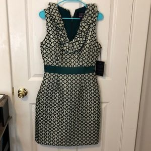ModCloth Anna Sui green and gold dress